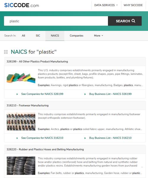 NAICS Search Result